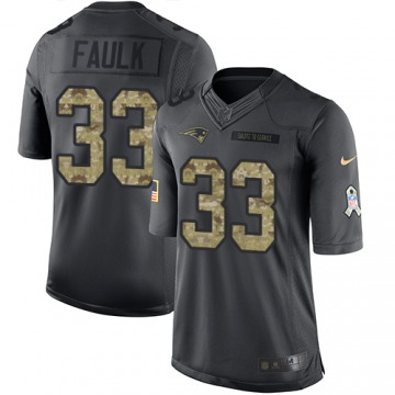 Men's Kevin Faulk New England Patriots Limited Black 2016 Salute to Service Jersey