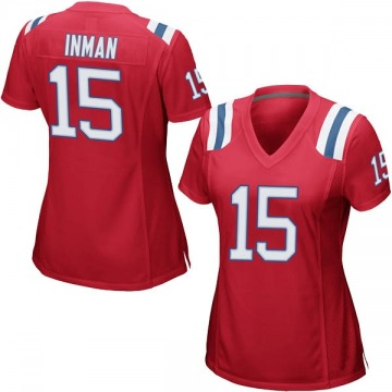 Women's Dontrelle Inman New England Patriots Game Red Alternate Jersey