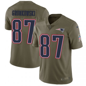 Youth Rob Gronkowski New England Patriots Limited Olive 2017 Salute to Service Jersey