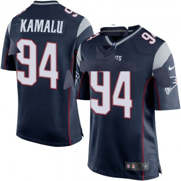 Youth Ufomba Kamalu New England Patriots Game Navy Blue Team Color Jersey